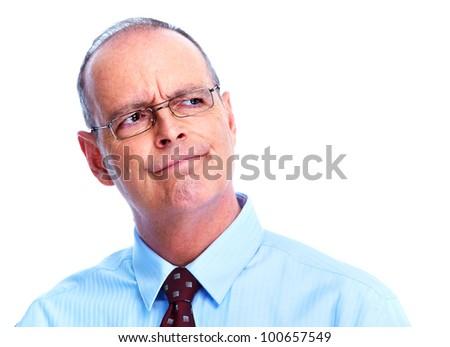 Skeptical businessman. Isolated on white background. - stock photo