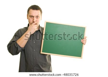 skeptical man holding blackboard - stock photo