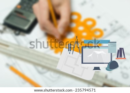 Sketch and various tools with added graphic drawing icon - stock photo