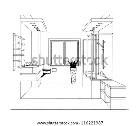Sketch Bathroom Interior Stock Illustration 116221987 Shutterstock