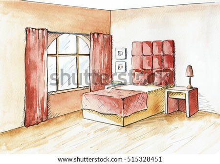 Watercolor Sketch Of An Interior Home And Hotel Bedroom