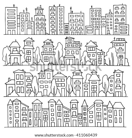 Sketch big city architecture with houses, skyscrapers, trees. Panorama set of streets in a row. Hand-drawn illustration isolated on white and organized in groups for easy editing. - stock photo