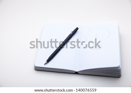sketch book on white background