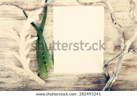 Sketch book with coral and herbs on wooden background, toned - stock photo