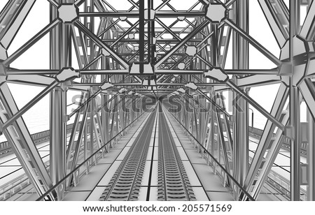 sketch bridge over the Ocean - stock photo