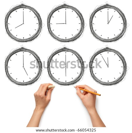 sketch clock with human hands with pencil and eraser - stock photo