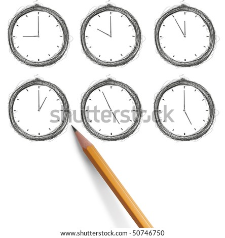 sketch clock with pencil isolated - stock photo