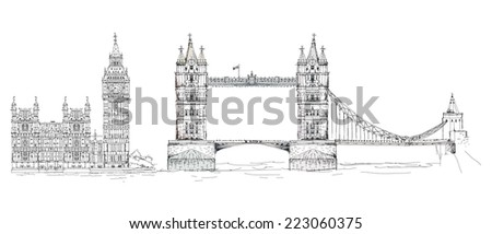 Sketch collection of famous buildings. London, Tower bridge, Big Ben - stock photo