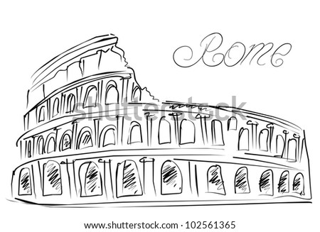 Sketch Colosseum in Rome, Italy - stock photo