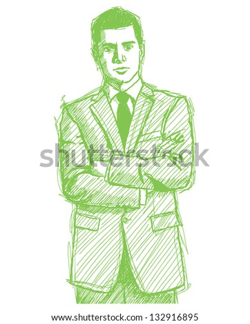 Sketch, comics style man businessman in suit, with folded hands, looking on camera - stock photo