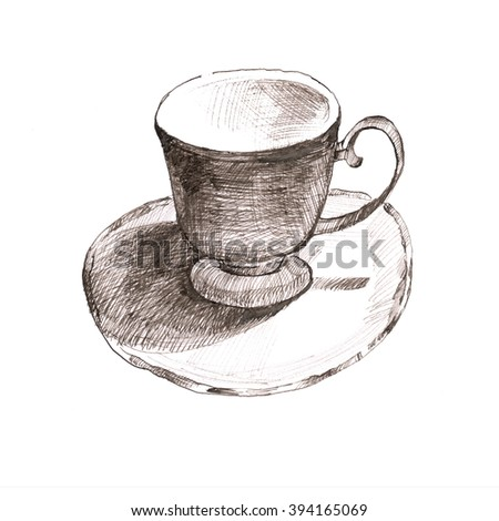 sketch cup. elegant cup and saucer. Retro cup of tea and coffee - stock photo