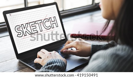 Sketch Design Designer Creative Idea Concept - stock photo