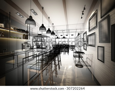 Sketch design coffee shop 3d wire stock illustration 307202264 sketch design of coffee shop 3d wire frame render malvernweather Image collections