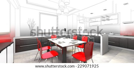 sketch design of dining ,3dwireframe render  - stock photo