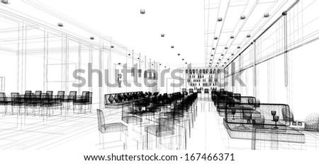 sketch design of   interior restaurant - stock photo