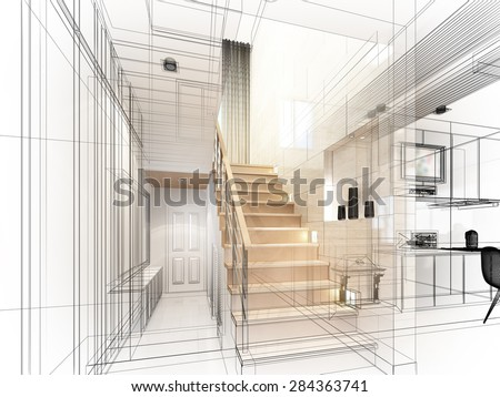sketch design of stair hall ,3dwire frame render    - stock photo