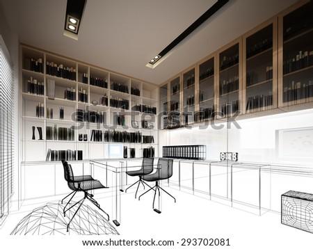 sketch design of study room ,3dwire frame render - stock photo