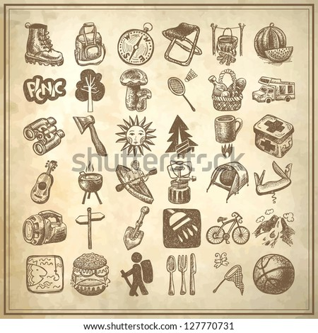 sketch doodle icon collection, picnic, travel and camping theme on grunge background, raster version - stock photo