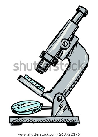 sketch, doodle illustration of microscope