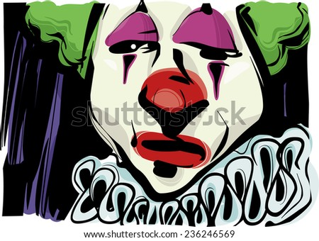 Sketch Drawing Illustration of Sad Clown Face - stock photo