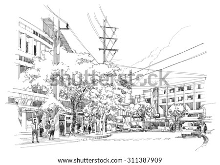 sketch drawing of city street.Illustration. - stock photo