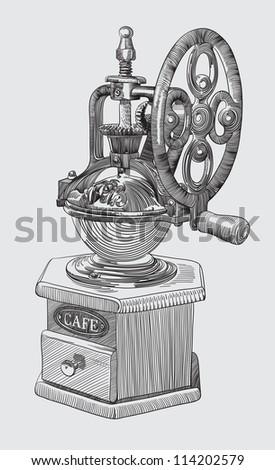 Sketch drawing of coffee grinder. Raster version - stock photo