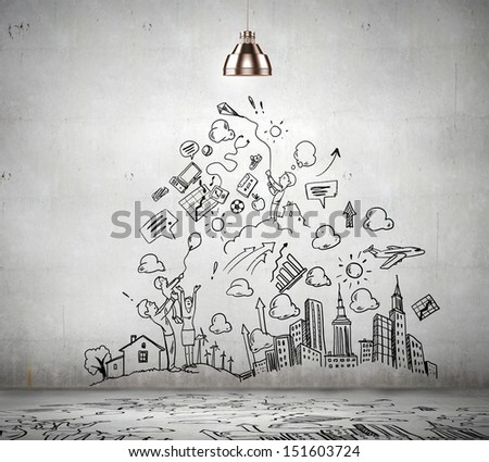 sketch drawing ideas on wall collage stock photo 151603724