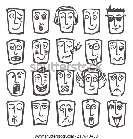 Sketch emoticons man head face expressions icons set isolated  illustration - stock photo