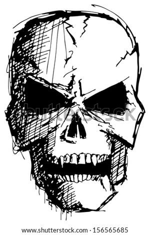 sketch evil monster skull for halloween - stock photo