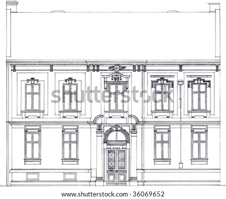 Sketch facade of the old house