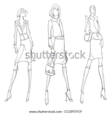 SKETCH. fashion girl. Hand-drawn fashion model - stock photo