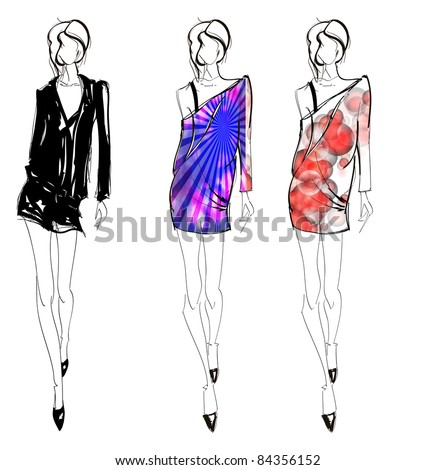 SKETCH. fashion girl. Hand-drawn fashion model. Vector illustration. - stock photo