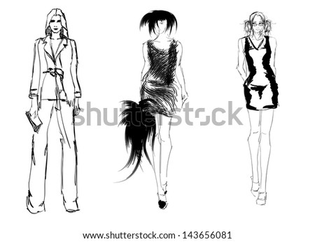 SKETCH. fashion girls - stock photo