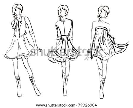 SKETCH. fashion girls - stock photo