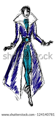 Sketch fashion model girl (vector version in portfolio) - stock photo