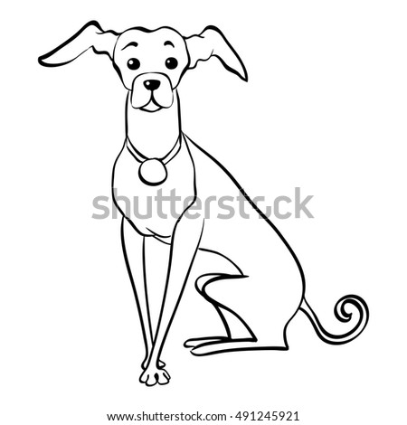 Vector Sketch Funny Dog Italian Greyhound Stock Vector 435137149