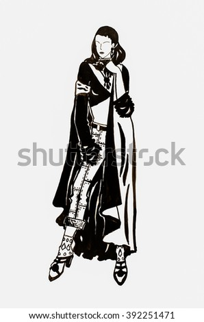 sketch girl in a coat on a white clean background watercolor - stock photo