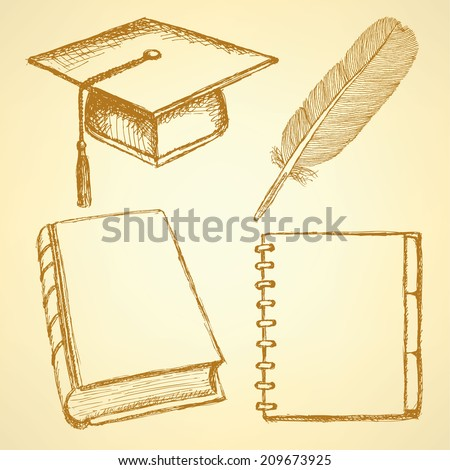 Sketch graduation cap, feather, notebook and book, background