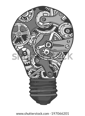 Sketch grunge cogwheel gears mechanisms lightbulb isolated  illustration - stock photo