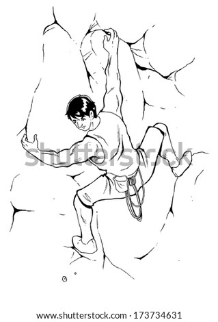 Sketch illustration of a man climbing the rock - stock photo
