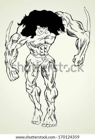 Sketch illustration of a mutant - stock photo
