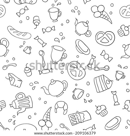 Sketch illustration of tea and sweets. Seamless background - stock photo