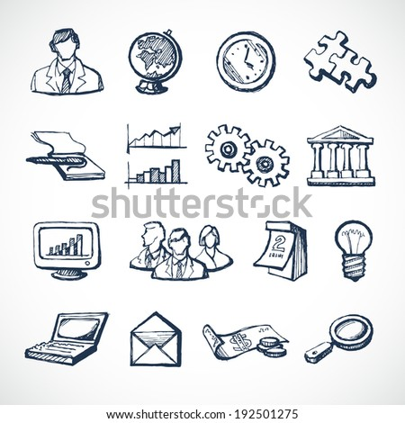 Sketch infographic icons set with globe clock computer puzzle money isolated  illustration - stock photo