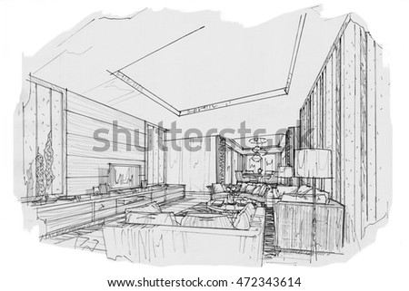 Interior Design Sketches Living Room sketch interior perspective living room black stock illustration