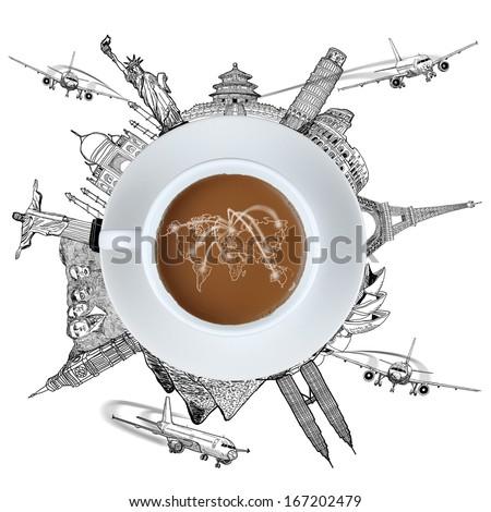Sketch landmake Coffee travel around the world  - stock photo