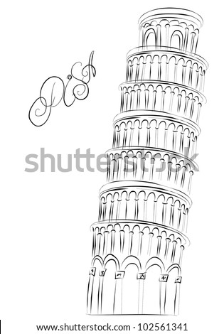 Sketch leaning Pisa tower, Italy - stock photo