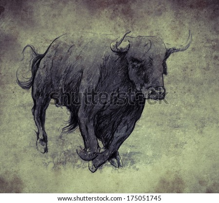 Sketch made with digital tablet, bull running - stock photo