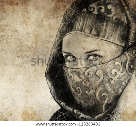 Sketch made with digital tablet of arabic woman, desert - stock photo
