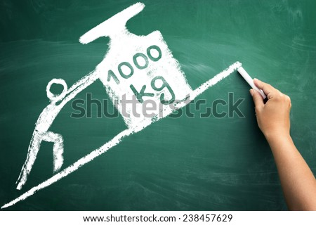 sketch man push big weight, concept worked hard, - stock photo
