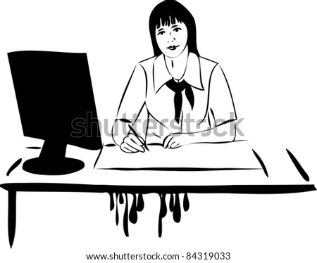sketch of a girl at the table in front of computer monitor